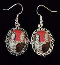The Munsters Lily Herman Antique Silver Drop Earrings Goth 1960s TV