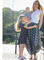 Maternity Two Way Maxi Long Skirt in Navy Leaf Print + Free Shirt Outfit