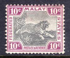 MALAYA #23a 10c VIOLET & GREY, 1901 TIGER, F, OG-HINGED