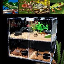 4 Grid Pet Reptile Cage Feeding&Breeding Tank Lizard Frog Amphibian Tank Box New