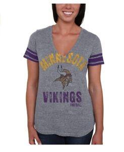 """G-III 4Her Minnesota Vikings Women's """"Any Sunday"""" Tri Blend V-Neck T-Shirt"""