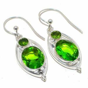 """Burmese Peridot Gemstone 925 Sterling Silver Jewelry Earring 2.0"""" F1882"""