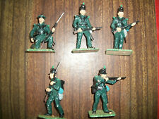 FIVE NICELY PAINTED 54MM NAPOLEONIC BRITISH RIFLEMEN  Lot 1