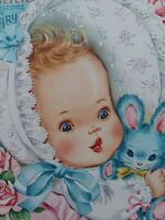 1954 Vtg Welcome BABY Fancy Embossed BONNET Pink Roses Fairfield GREETING CARD
