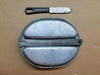 WW2 US Army Mess Kit 1942 MEMCO plus 1941 Knife L.F.&C w/ Bakelite Handle WWll