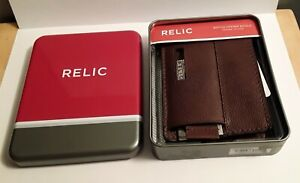 RELIC BRAND MENS BIFOLD WALLET BROWN - GENUINE LEATHER WITH BOTTLE OPENER