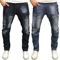 Crosshatch Mens Designer Branded Twisted Leg Tapered Fit Jeans, BNWT