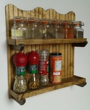Spice and Herb Rack Wall Mounted 2 Tier (12 Mini Spice Jars) Handmade from Wood