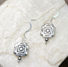 "Southwest Design Earrings .925 Sterling Silver pewter charms 1 1/4"" 10mm x14mm"
