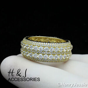 MEN 925 STERLING SILVER FULL ICY DIAMOND 10MM GOLD WEDDING BAND RING*AGR121