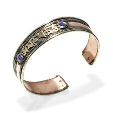 Tibetan Om Copper Brass with Lapis Cuff Bracelet Jewelry Artisan Handcrafted