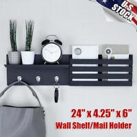 "24"" x 6"" Wall Shelf and Mail Holder with 3 Hooks Coat Key Rack Storage Organizer"