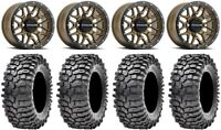 "Raceline Krank 14"" Wheels Br +38mm 30"" Roxxzilla 396 Tires Polaris RZR TS / RS1"