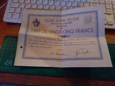 DOCUMENTO ANTICO CLUB ALPIN SUISSE SAC CAS SCHWEIZER ALPEN CLUB 1934 ALPINISMO