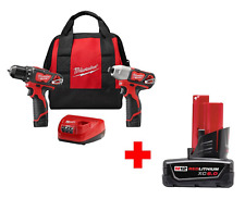 2 Tools Milwaukee12-Volt Cordless Driver Impact Combo + Free 6.0AH Battery +Case