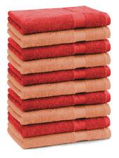 Betz 10 Toallas de cara 30x30cm PREMIUM 100% algodón de colores naranja y rojo