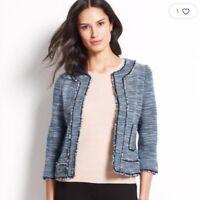 NWT Ann Taylor Sz 8 Women Tweed Fringed Blazer Jacket Faux Leather Trim Blue M