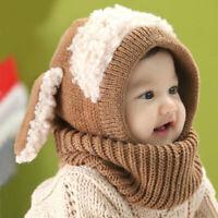 Children Knitted Woolen Scarf Hat Cute Dog Ear Cap Winter Warm Khaki NICE
