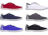 Mens Crosshatch Casual Plimsolls Fashion Pumps Trainers Lace Up Canvas Shoes 7-1