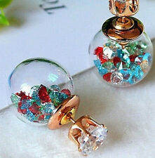 Stylish colourful glass crystal double sided stud earrings