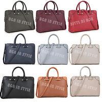 Ladies Leather Office Multiple Pocket Large College Bag Laptop Briefcase