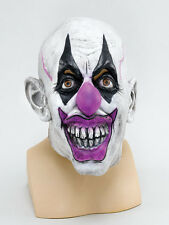 Purple Scary Clown Rubber Face Mask Horror Halloween Fancy Dress Accessory.