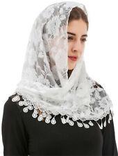 Triangle Mass Catholic Church Mantilla Veils Shawl Scarf Head Cover Fringed Lace