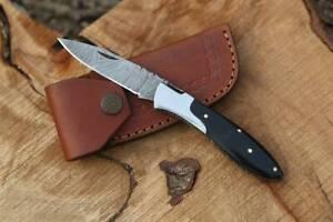 """HANDMADE DAMASCUS STEEL 7.0"""" POCKET/FOLDING KNIFE, SKINNER KNIFE, HORN HANDLE"""