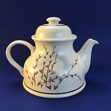 Vintage English Pottery Stoneware Teapot Gray Floral Large Mint Cond England