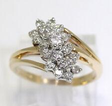 Diamond cascade ring 14K yellow gold cluster G-H round brilliants .60CT sz 5 1/4