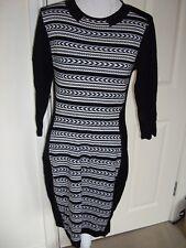 ROMAN BLACK PATTERNED STRETCHY JUMPER DRESS UK 12 EXCELLENT COND