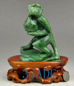 Natural Green Nephrite Jade Monkey Peach Carving / Sculpture / Statue