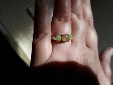 Gorgeous Fiery Ethiopian Welo Opal and White Topaz 9k white gold ring  N. Cert.