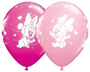 """6 pc 12"""" Disney Minnie Mouse Baby Shower Party Latex Balloons Happy Birthday"""