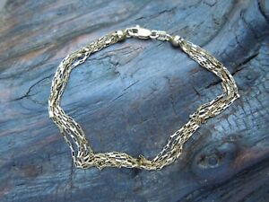 "Estate Italian 14k Yellow Gold Multi Strand Paper Clip Bracelet 7 1/4""  ITALY"