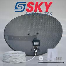 Sky Freesat Satellite Dish & Quad LNB Complete 25m White Twin Installation Kit