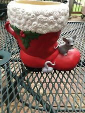 New listing Vintage Christmas Painted Stocking With Mouse