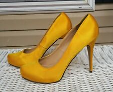 Women's Closed Toe High Heel Platform Yellow Silk Pumps Shoes 11M