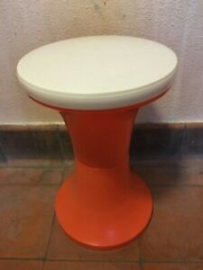 Vintage Retro Orange & White JUDGE Plastic Stool Made In England