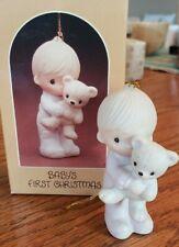 Precious Moments Ornament Baby's First Christmas Boy w/Teddy Bear #E-5631