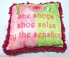 She Shops Shoe Sales by the Seashore Pillow