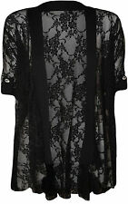 Womens Plus Size Ladies Lace Button Open Cardigan Short Sleeve14 - 28 Black 20