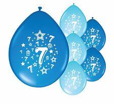"30 X 7th BIRTHDAY/ AGE 7 BOY BALLOONS ""7 TODAY""  BIRTHDAY BALLOONS BLUE MIX"