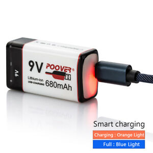 9v Battery Pack POOVER Rechargeable USB Lithium-ion 6F22 Battery PP3 Block LED