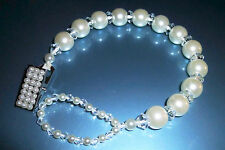 White Ivory Diamonds & Pearl Crystal Bling Baby Romany dummy pacifier clip chain