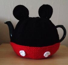 Hand Knitted Mickey Mouse Tea Cosy In Black And Red