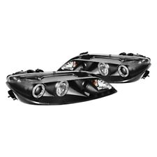 New Set of 2 LED Halo DRL Projector Headlights Black for Mazda 6 2003-2006 Pair