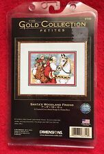 Dimesions The Gold Collection Petites Santa's Woodland Friend Cross Stitch Rare