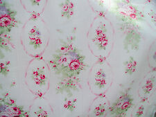 Yuwa  1890's French Reproduction Pink Roses  on White Cretonne (Barkcloth) Yd.