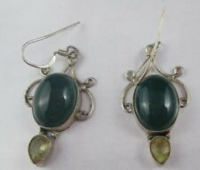 VINTAGE STERLING SILVER GREEN GLASS DANGLE EARRINGS